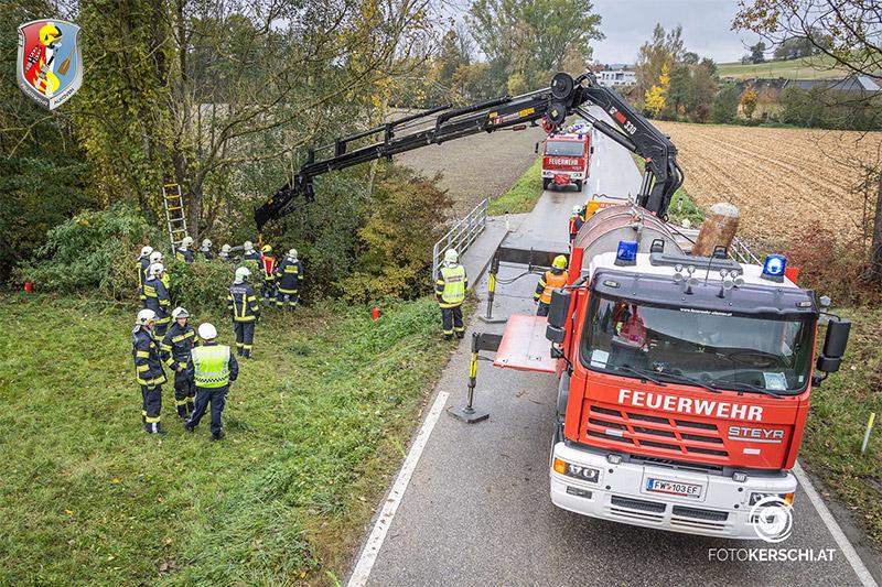 22.10.2021: Schwangere mit Pkw in Hinzenbach in Bach gestürzt → Assistenzeinsatz