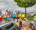 22.08.2019: Zwei Verletzte bei Pkw-Frontalkollision, B 129